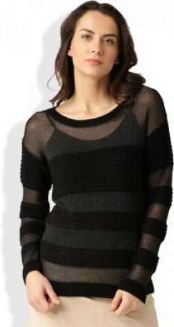 Dressberry Casual Full Sleeve Striped Women's Black Top
