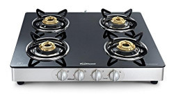 Sunflame Crystal Stainless Steel 4 Burner Gas Stove, Silver