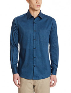 Raymond Men's Casual Shirt (8907254865527_RQSH00018-B7_42_Dark Blue)