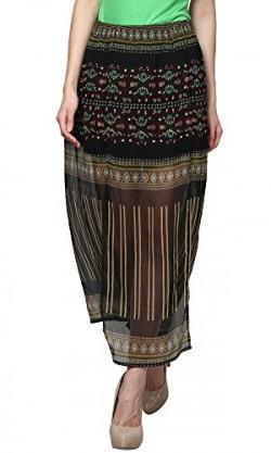 Trend 18 Women's Border Printed Slit Skirt (10003154, Multi Colour, 34)
