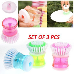 Lukzer Plastic Cleaning Brush (Set of 3 Pcs) with Liquid Soap Dispenser, Self Dispensing Cleaning Brush for floors,Kitchen,Laundry and other Household Chores.