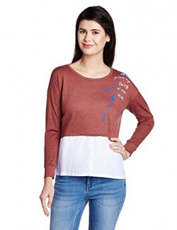 People Women's Body Blouse Long Sleeve Top (P20401096008600_Red_Small)