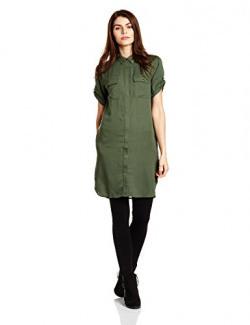 Symbol Women's Double Pocket Long Blouse Shirt (AW17SYMWBL070_Olive_M)