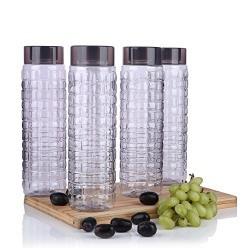 Steelo Plastic Water Bottle, 1 Litre, Set of 4, Grey (SOL10004GRY)