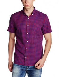 GAP Men's Gingham Seersucker Short Sleeve Shirt (145422400042_52657310201_XL_Killer Tomato)