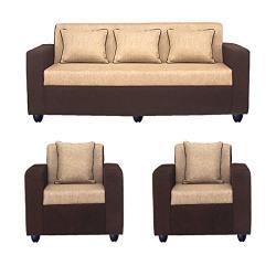 Bharat Lifestyle Tulip Fabric 3+1+1 Sofa Set Cream Brown