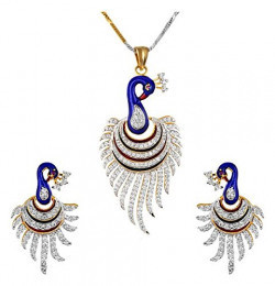 Youbella Multicolor Metal Pendant Necklace With Earrings For Women & Girls