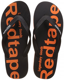 Red Tape Men's Black and Orange Flip-Flops and House Slippers - 9 UK/India (43 EU)