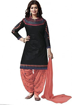 Princes Fashion® Women'S Cotton Anarkali Dress Material (Ritmo-Original-Imaekdbrazy_Black_Free Size)
