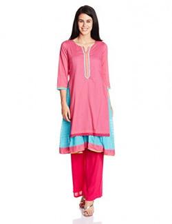 Rangriti Women's Kalidar Kurta (PATTAKRA4184_Pink_38)