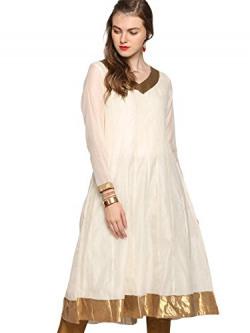 abof Ethnic Off-white Anarkali Chanderi Kurta