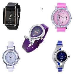 Horse Head Jwellery Bracelet Style Combo of 5 Analogue Multicolor Dial Womens Watches-D55