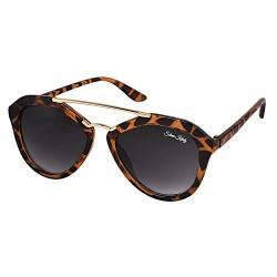Silver Kartz Oval look Scada Leopard Print Bar Black Gradient Sunglasses (wc068)
