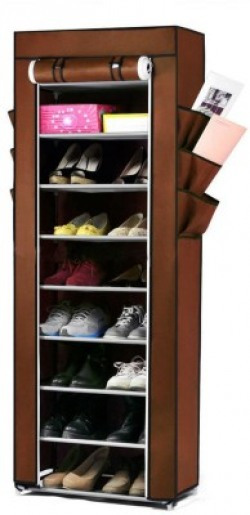 Pindia Fancy 10 Layer Brown Shoe Rack Organizer Polyester Collapsible Shoe Stand