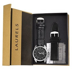 Laurels Invictus 8 Analog Black Dail Men's Watch With Additional Strap ( Lo-Inc-802s)