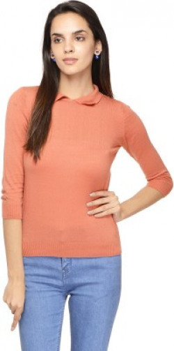 Northern Lights Solid Round Neck Casual Women Orange Sweater