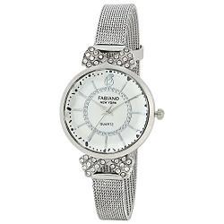 Fabiano New York Silver Analog Wrist Watch for Girls and Women