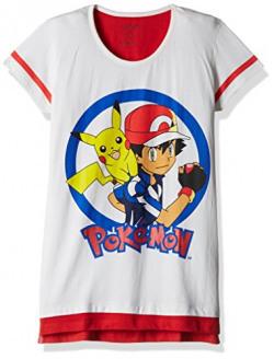 Pokemon Girls' T-Shirt (PK1EGT1998_IVORY & SCARLET RED_9/10)