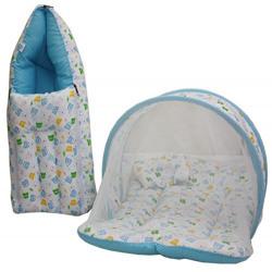Amardeep Baby Mattress with Mosquito Net, Sleeping Bag Combo 0-3 Months (blue)