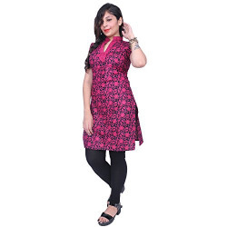 Thari Choice Sleeveles Women Flower Printed Pink Cotton kurti for Girls