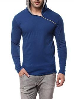 Gritstones Indigo/Grey Melange Full Sleeve Hooded T Shirt GSFSHDZIP1291INDGM_XL