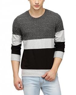 Campus Sutra Men Tri Colour Full Sleeve T-Shirt(SS16PRM_RNFSTRI_M_PLN_CHGRBL_S)