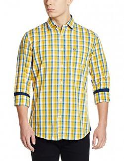 Arrow Sports Men's Casual Shirt (8907538662378_ASTS1597_39FS_Me. Yellow)