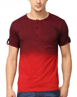 Campus Sutra Men's Cotton T-shirt (SS16PRM_HNYSPR_M_PLN_MARD_L_Maroon_Large)