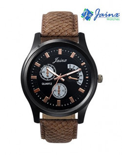Kacey Casual Analogue Leather Strap Multicolour Dial Men's Watch KIS-170