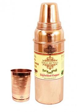 IndianArtVilla Thermos Design Copper Bottle with 1 Glass Tumbler, Drinkware & Serveware Set, 2 Pieces