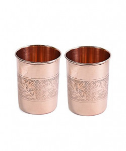 Frestol Copper Emborsed Glasses Serveware, Tableware having Capacity 200 ML- (Set of 2)