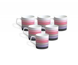 Clay Craft Director Hilton 390 Bone China Coffee Mug Set, 220ml/6.6cm, Set of 6, Multicolour
