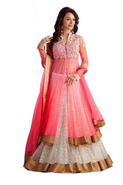Palli Fashion Women's Pink & White Embroidered Lehenga Choli (Pinkpanther01_Pink&White_Free Size)