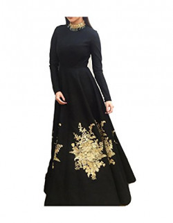 Royal Export Women's Semi-Stitched Gown (Black)