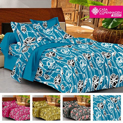 Casa Basics- Ezy Collection,144 Thread Count Standard 100% Cotton Solid,Floral,Geometric Double Bedsheet With 2 Pillow Cover- Blue,Black & White…