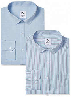 EX by Excalibur Men's Formal Shirt (8907542657957_400016597158_42_Assorted) (Pack of Two)