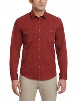 Grasim Men's Casual Shirt (T716_44_Red)