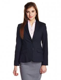 Arrow Women's Cotton Blazer (ABRW13500_Navy_Medium)