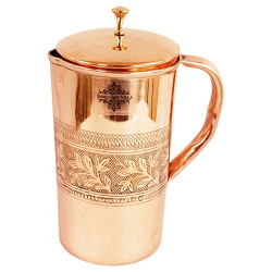IndianArtVilla Embossed Design Copper Jug Pitcher, Serveware & Drinkware , Beneficial For Health, 1000 ML