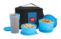 Cello Max Fresh Super Combo Polypropylene Lunch Box, 4-Pieces, Blue
