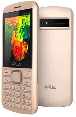 Aqua Glamour Gorgeous Dual Sim Basic Keypad Mobile Phone With Auto Call Recording Feature - Gold