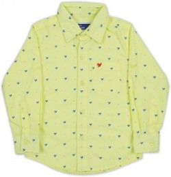 612 League Boys Printed Casual Yellow Shirt