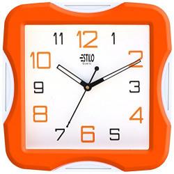 Estilo Plastic Analog Wall Clock (26 cm x 26 cm x 5 cm, Orange, ES9733ORANGE)
