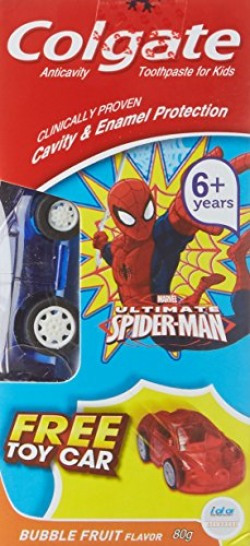 Colgate Tootpaste  Spider-man Bubble Fruit Flavor - 80 g with Free Toy Car