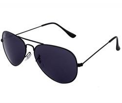 Gansta Uv Protective Unisex Black Aviator Sunglasses - (Gn-3002-Blk-Blk 58 Grey Lens)