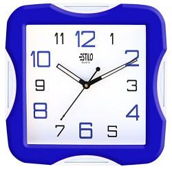 Estilo Plastic Analog Wall Clock (26 cm x 26 cm x 5 cm, Blue, ES9733BLUE)