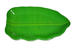 Hua You 16 inch Banana Leaf Shape South Indian Dinner Lunch Serving Melamine Platter Plate Tray For All Occasions - 1 Pcs
