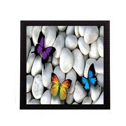 eCraftIndia Butterfly On Stones Satin Matt Texture UV Art Painting