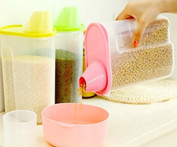 Bulfyss Cereal Dispenser Jar 1900ml Each (Set of 3) Ideal For Kitchen Storage Box Lid Food Rice Pasta Container Tub Dry Bin (Set of 3)(Multicolor)