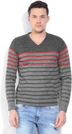 Lee Striped V-neck Casual Men Grey Sweater